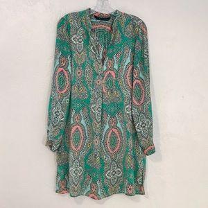 Zara silk tunic jade coral Moroccan print, size L